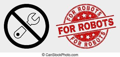 riparazione, grunge, proibito, robot, vettore, sigillo,...