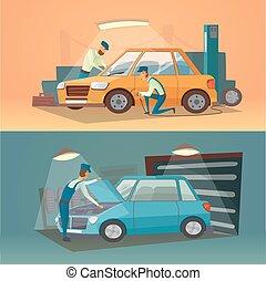 riparazione, illustration., servizio, automobile, lavorante, business., scene, garage, vettore, auto, pneumatico, cartone animato