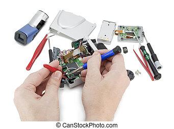 riparazione, macchina fotografica, video digitale