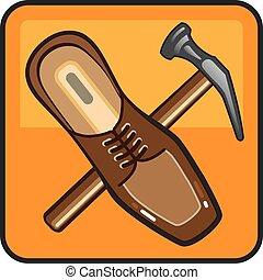riparazione, scarpa, icona