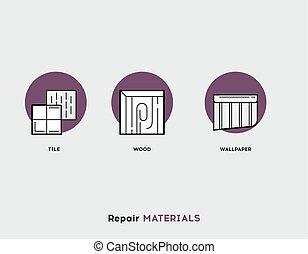 riparazione, set, appartamento, materials., moderno, illustrazione, icone, linea
