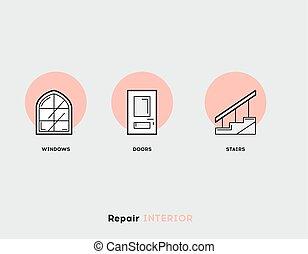 riparazione, set, appartamento, moderno, illustrazione, interior., icone, linea