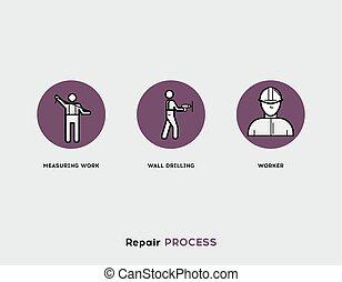 riparazione, set, appartamento, process., moderno, illustrazione, icone, linea