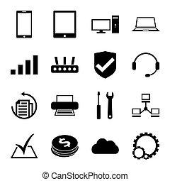 riparazione, set, servizio, icone, computer, monocromatico