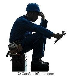 riparazione, silhouette, lavoratore, triste, fallimento,...