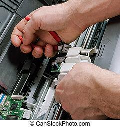 riparazione, stampante, manutenzione