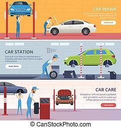 riparazione, vettore, servizio, automobile, banners., officina, pubblicità, meccanico, auto, bandiere