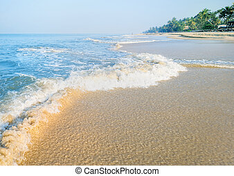 Slight waves on the sandy shore of the sea