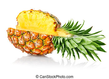 ripe ananas fruit with green leaves