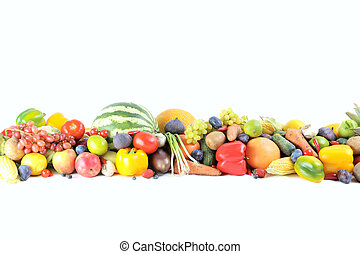 Ripe and tasty fruits and vegetables on a white background
