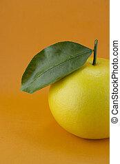 Ripe appetizing grapefruit with leaf on orange background.