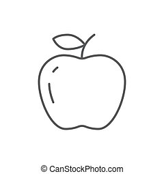 Ripe apple editable outline icon - pixel perfect symbol of fresh organic healthy fruit with vitamins.