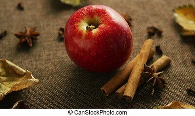 Ripe apple with aromatic spices - From above shot of ripe...