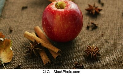Ripe apple with aromatic spices - From above shot of ripe ...