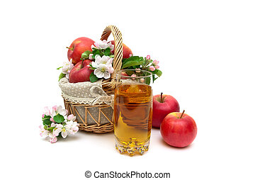 ripe apples and glass of juice on a white background