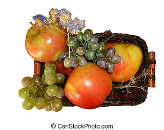 ripe apples in a basket isolated4