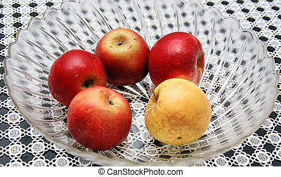 ripe apples in a glass bowl