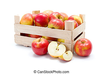 Ripe apples in wooden carte - Crate of fresh ripe red apples
