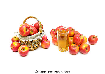 ripe apples on a white background