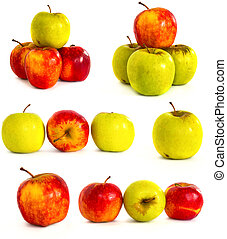 ripe apples on a white background, isolate,