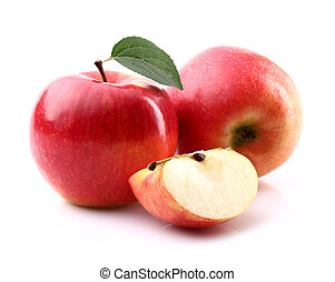 Ripe apples with slice