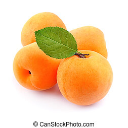 Ripe apricots with leafs