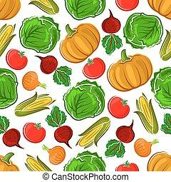 Ripe autumnal veggies seamless pattern