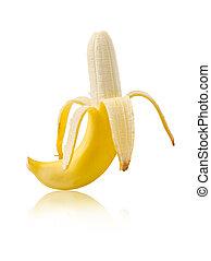 Ripe banana fruit isolated on white.