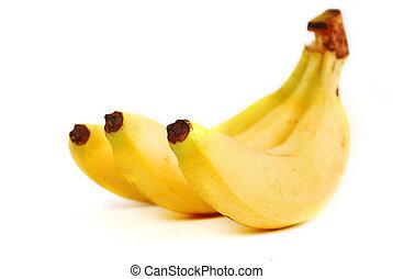 Ripe banana on white background