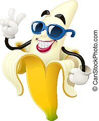 Ripe banana. Tropical fruit. Vector illustration.