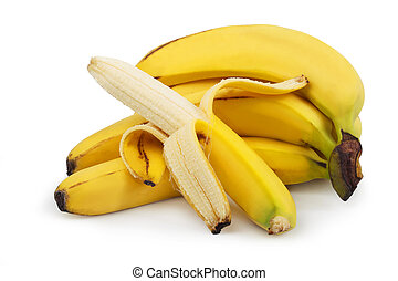 Ripe bananas isolated