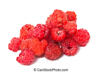 Ripe berries of raspberry on white background