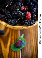 Ripe berry of black mulberry