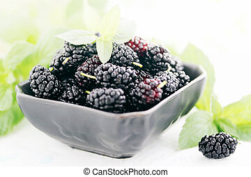 mulberry on a black plate
