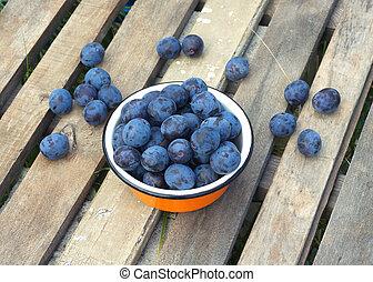 Ripe blue plums in orange bowl