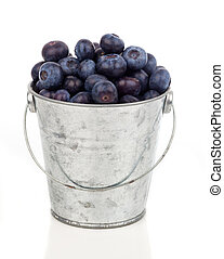 ripe blueberries in metallic bucket, on white background