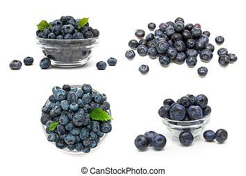 Ripe blueberries isolated on white background.