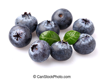 Ripe blueberry with leaves