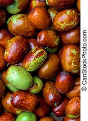 Ripe broun jujube chinese dates, close up