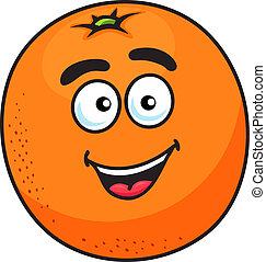 Ripe cartoon orange fruit