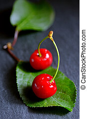 Ripe cherries with leaf