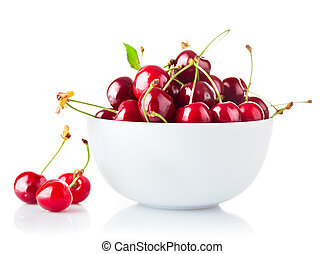 Ripe cherry in plate with green leaf. Isolated on white ...