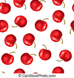 Ripe cherry on white background. Vector illustration