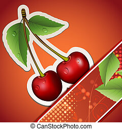 Ripe cherry with leafs