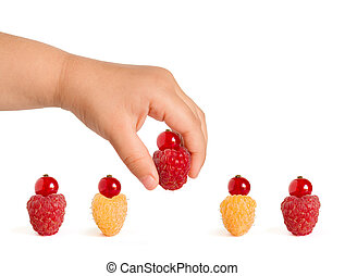 Ripe Colorful Raspberries with Red Currants on the Top Isolated on the White Background
