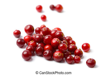 ripe cranberries isolated