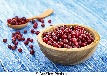 ripe cranberries on the table