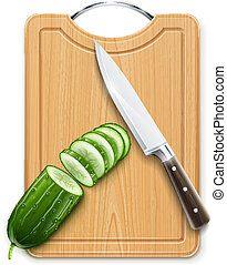 ripe cucumber cut segment on board with knife vector...