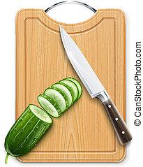 ripe cucumber cut segment on board with knife vector...