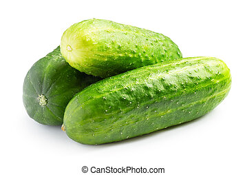 Ripe cucumbers isolated on white background